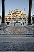 Inner courtyard of the Blue Mosque, built in Sultan Ahmet I in 1609, designed by architect Mehmet Aga, Istanbul, Turkey, Europe