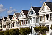 The famous Painted Ladies, well maintained old Victorian houses on Alamo Square, San Francisco, California, United States of America, North America