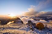 Sunset at White Rocks (Piedras Blancas) campsite at 6200m, Aconcagua 6962m, highest peak in South America, Aconcagua Provincial Park, Andes mountains, Argentina, South America