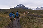Hikers, Torres del Paine National Park, Patagonia, Chile, South America