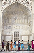 Indian women standing in line at Taj Mahal, UNESCO World Heritage Site, Agra, Uttar Pradesh, India, Asia