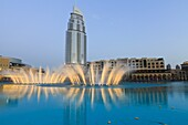 Downtown district with the Dubai Fountain, Address Building and Palace Hotel, Dubai, United Arab Emirates, Middle East