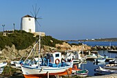 Windmill near the harbour, Parikia (Hora), Paros, Cyclades, Greek Islands, Greece, Europe