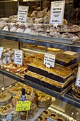 Local baker's shop window, Bergamo, Lombardy, Italy, Europe