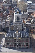 View over the city and the Stadhuis from the viewing platform of the Nieuwe Kerk (New Church), Delft, Netherlands, Europe