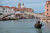View of the Grand Canal in front of the train station from a public waterbus, Venice, UNESCO World Heritage Site, Veneto, Italy, Europe