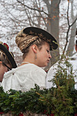 Traditional woman with plaited hair, Leonhardi procession, Bad Toelz, Upper Bavaria, Bavaria, Germany