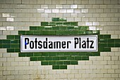 Potsdamer Platz underground sign, Berlin, Germany, Europe