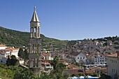 View over part of the medieval city of Hvar, island of Hvar, Dalmatia, Croatia, Europe