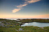Dawn view towards the township of Manish and the coastline of Harris, Isle of Skye on the horizon, Outer Hebrides, Scotland, United Kingdom, Europe