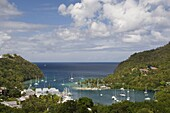 An aerial view of yachts in Marigot Bay, St. Lucia, Windward Islands, West Indies, Caribbean, Central America