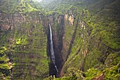 Dramatic waterfall near Sankaber, UNESCO World Heritage Site, Simien Mountains National Park, The Ethiopian Highlands, Ethiopia, Africa