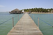 Jetty and Beach hut, Saly, Senegal, West Africa, Africa