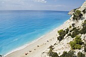 Egremnoi Beach, 400 steps down to beach, said to be one of the top beaches in Europe, on west coast of Lefkada (Lefkas), Ionian Islands, Greek Islands, Greece, Europe
