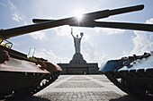 Tanks on display and Rodina Mat monument, Museum of the Great Patriotic War, Kiev, Ukraine, Europe