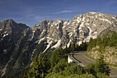 View of the Hoher Goll mountain range from the Rossfeld Panoramastrasse (Rossfeldhoehenringstrasse or Panoramic Highway), Berchtesgaden, Bavaria, Germany, Europe