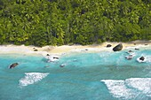 Aerial view of beach, Seychelles, Indian Ocean, Africa