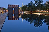 Reflecting Pool and The Gates of Time at the Oklahoma City National Memorial, Oklahoma City, Oklahoma, United States of America, North America