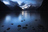 Darkness descends at Milford Sound, Fiordland, South Island, New Zealand, Pacific