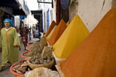 Spices for sale in the Old City, Essaouira, Morocco, North Africa, Africa