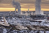 Svartsengi (Blue Lagoon) Geothermal Power Station at sunset, Grindavik, Reykjanes Peninsula, Iceland, Polar Regions