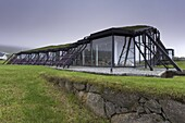 Nordic House, exteriors and turf covered roof, Torshavn, Streymoy, Faroe Islands (Faroes), Denmark, Europe
