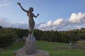 Statue of the elf girl Tarira, fantasy figure of the author William Heinesens, by Faroese sculptor Hans Pauli Olsen, Torshavn, Streymoy, Faroe Islands, Denmark, Europe