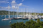 Yachts moored in English Harbour,  Nelson's Dockyard,  Antigua,  Leeward Islands,  West Indies,  Caribbean,  Central America