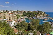 Elevated view over the Marina and Roman Harbour in Kaleici,  Old Town,  Antalya,  Anatolia,  Turkey,  Asia Minor,  Eurasia