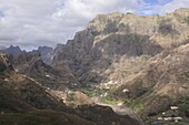 Mountain village in rocky landscape on island of San Antao,  Cape Verde Islands,  Africa