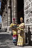 Cuban women in old costume, Havana, Cuba, West Indies, Central America