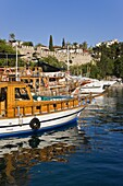 Boats moored in the Marina and Roman Harbour in Kaleici, Old Town, Antalya, Anatolia, Turkey, Asia Minor, Eurasia