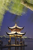 Pavilion on Xi HU (West Lake) at dusk, Hangzhou, Zhejiang, China, Asia