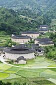 Hakka Tulou round earth buildings, UNESCO World Heritage Site, Fujian Province, China, Asia