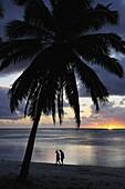 Couple walking on beach, Paradise Cove, Aitutaki, Cook Islands, South Pacific Ocean, Pacific