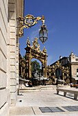 Gilded wrought iron gates, light and fountains by Jean Lamour, Place Stanislas, UNESCO World Heritage Site, Nancy, Lorraine, France, Europe
