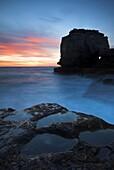 Twilight beside Pulpit Rock in Portland, Dorset, England, United Kingdom, Europe