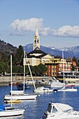 Yachts in the harbour at Solcio on Lake Maggiore, Italian Lakes, Piedmont, Italy, Europe