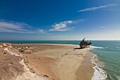 Stranded vessel at a beach of Cap Blanc, Nouadhibou, Mauritania, Africa