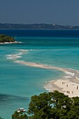 View above a sand bank linking the two little islands of Nosy Iranja near Nosy Be, Madagascar, Indian Ocean, Africa