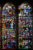 St. Frideswide stained glass window by Edward Burne-Jones dating from 1858, Christ Church College Cathedral, Oxford, England, United Kingdom, Europe