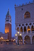 Daybreak view of Piazza San Marco (St. Mark's Square) and Campanile with Doges Palace, Venice, UNESCO World Heritage Site, Veneto, Italy, Europe