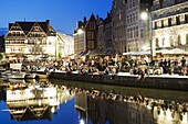 Night time reflection of waterfront town houses, Ghent, Flanders, Belgium, Europe