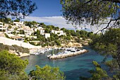 View from hillside to the harbour Portals Vells near Magaluf,  Mallorca, Balearic Islands, Spain, Mediterranean, Europe