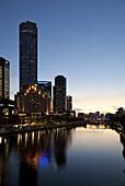City Centre and Yarra River at dusk, Melbourne, Victoria, Australia, Pacific