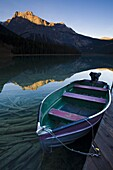 Boat moored at Emerald Lake, Yoho National Park, UNESCO World Heritage Site, British Columbia, Rocky Mountains, Canada, North America