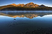 First light on a cold blue morning at Patricia Lake, Jasper National Park, UNESCO World Heritage Site, Alberta, Rocky Mountains, Canada, North America