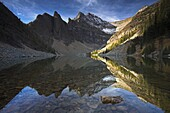 The shallow Lake Agnes captures a perfect reflection of the mountain rang, Banff National Park, UNESCO World Heritage Site, Alberta, Rocky Mountains, Canada, North America