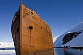 Rusted remains of an old whaling ship off Enterprise Island, Antarctic Peninsula, Antarctica, Polar Regions