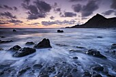Dusk on the rocky shores of Speke's Mill Mouth in North Devon, England, United Kingdom, Europe